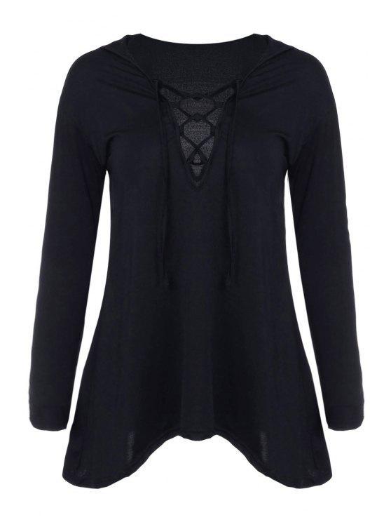 trendy Hooded Irregular Hem Black T-Shirt - BLACK M