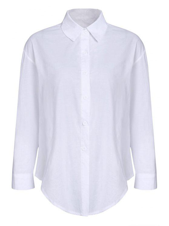 ladies Pure Color Turn Down Collar Long Sleeves Shirt - WHITE S