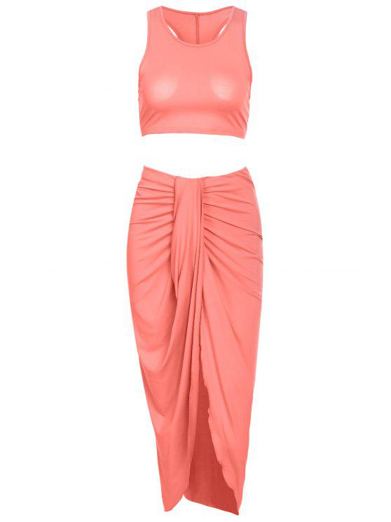 buy Sleeveless Crop Top and Solid Color Skirt Suit - PINK L