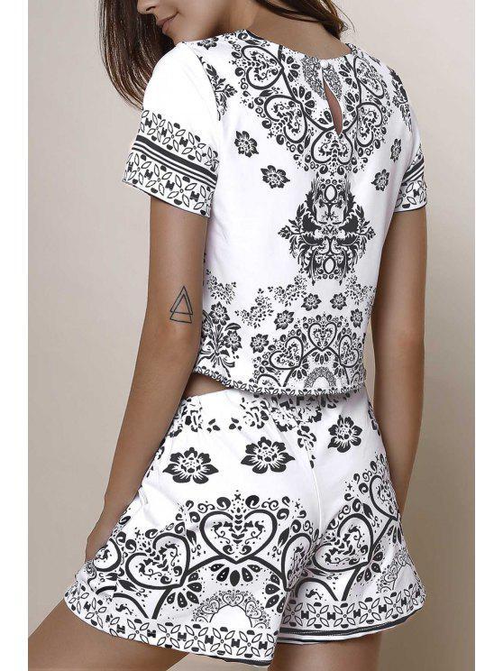 online Short Sleeve Crop Top + Porcelain Print Shorts Twinset - BLACK XS
