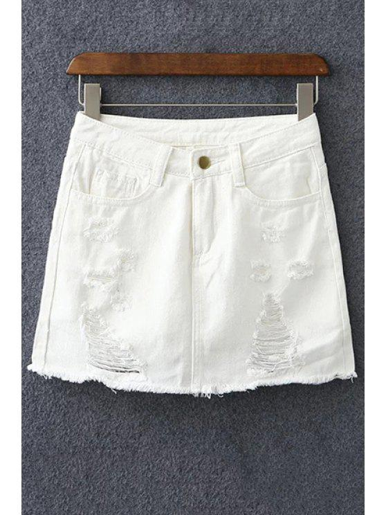 ladies Denim Ripped Culotte Shorts - WHITE S
