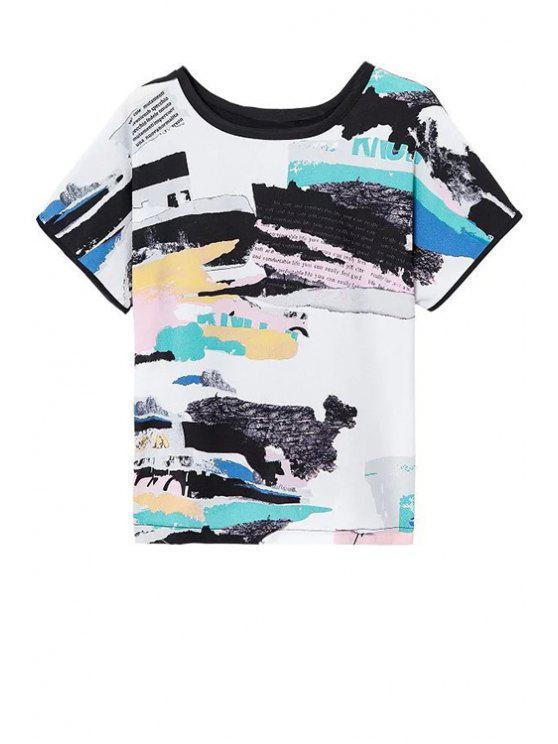 Round Printed Neck courtes T-shirt lâche manches - Multicolore M