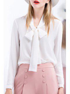 Collar Del Arco De Seda De Color Sólido De Manga Larga Blusa - Blanco S