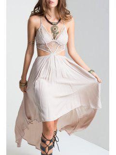 Lace Spliced High-Low Cami Sleeveless Dress - Off-white Xl