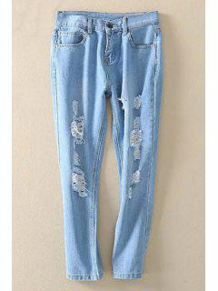 Bleach Wash Distressed Ninth Jeans - Light Blue S