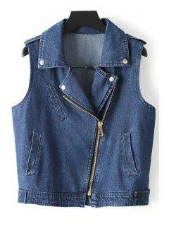 Denim Lapel Collar Inclined Zipper Waistcoat - Denim Blue S