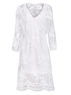 Lace See-Through Long Sleeve Dress - White M