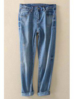 Rolled Cuff Jogger Jeans - Blue S