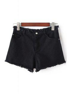 Denim Solid Color Pockets Shorts - Black L