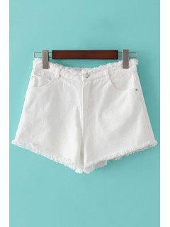 Denim Solid Pockets Color Pantalones Cortos - Blanco L