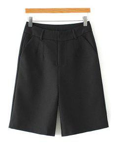 Sólidos Pantalones De Pierna Ancha De Color Talle Alto - Negro M