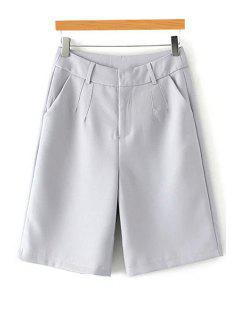 Solid Color High Waisted Wide Leg Pants - Light Gray S