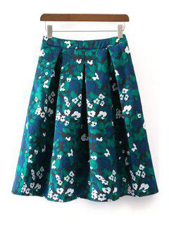 Floral Print Pleated Green Skirt - Green S