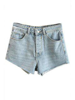 Bleach Wash Denim Cutoffs - Light Blue 34