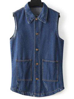 Two Pockets Denim Waistcoat - Blue S