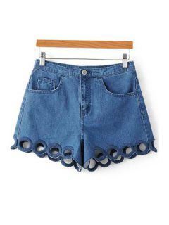 Circle Embroidery Straight Leg Denim Shorts - Deep Blue Xs