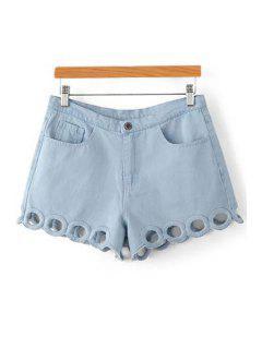 Circle Embroidery Straight Leg Denim Shorts - Light Blue Xs