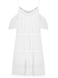 Robe Blanche à Encolure-bateau à Bretelles En Dentells Pour Femmes  - Blanc M