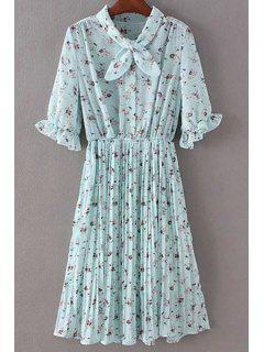 Tiny Floral Print Half Sleeve A Line Dress - Light Blue