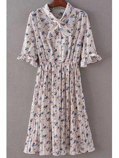 Tiny Floral Print Half Sleeve A Line Dress - Nude
