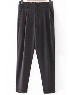 Solide Couleur Plié Taille Haute Neuf Minutes De Pantalons - Noir S