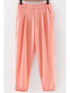 Solide Couleur Plié Taille Haute Neuf Minutes De Pantalons - Rose PÂle S