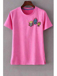 Cartoon Patch Round Neck Short Sleeve T-Shirt - Rose S