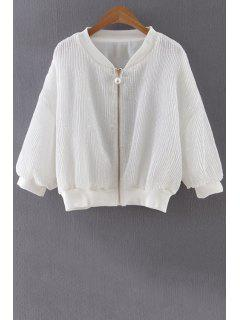 Solide Couleur Pailletée Stand Neck Jacket 3/4 Sleeve - Blanc S