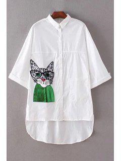 Kitten Patch Turn Down Collar 3/4 Sleeve Shirt - White M
