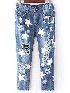 Full Star Print Narrow Feet Jeans - Blue 26