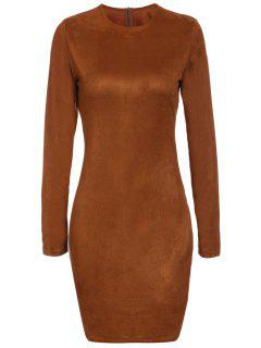 Long Sleeve Brown Suede Dress - Brown Xl