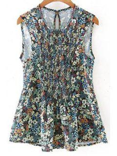 Floral Print Fitting Round Neck Tank Top - Green S