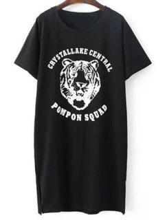 Tiger Pattern Short Sleeve T-Shirt - Black
