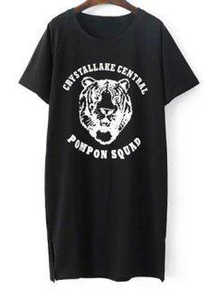 Patrón Del Tigre De Manga Corta De La Camiseta - Negro