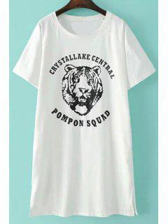 Patrón Del Tigre De Manga Corta De La Camiseta - Blanco