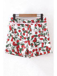 With Belt Cherry Print High Waist Shorts - Red S