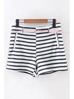 Double Pocket Striped High Waist Shorts - Black S