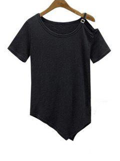 Manga Dobladillo Irregular Con Cuello Redondo Corto De La Camiseta - Negro Xl