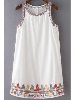Embroidery Round Collar Sleeveless Summer Dress - White L