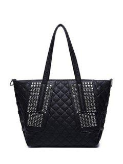 Dark Color Checked Rivet Shoulder Bag - Black