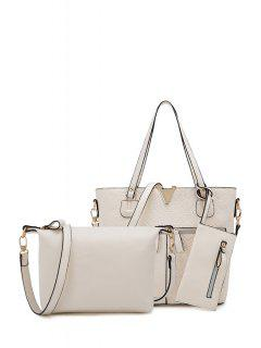 Checked Zips Solid Color Shoulder Bag - Off-white