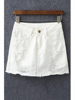 Denim Ripped Culotte Shorts - White Xl