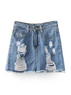 Denim Ripped Culotte Shorts - Light Blue Xl