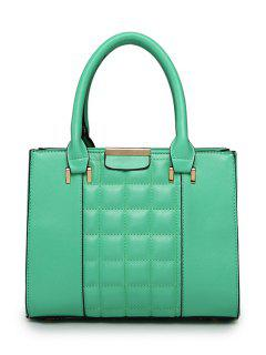 Solid Color Checked PU Leather Tote Bag - Cyan