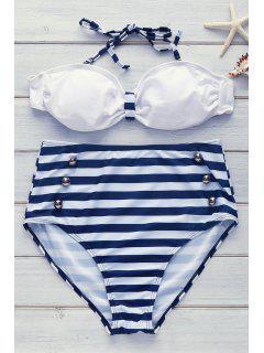 Ensemble De Bikini à Taille Haute à Col Halter à Bretelles - Bleu M