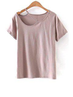 Recortable Cuello Redondo Manga Corta De La Camiseta - Rosado Claro S
