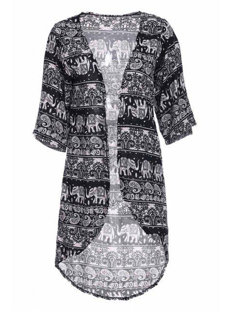 lady Colllarless Ethnic Pattern Print Blouse - BLUE AND WHITE M Mobile