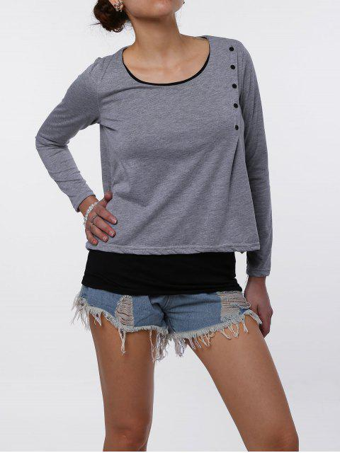 Stilvolle Scoop Neck Faux Twinset Design Long Sleeve T-Shirt für Frauen - Hellgrau XL Mobile