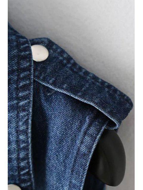 latest Denim Lapel Collar Inclined Zipper Waistcoat - DENIM BLUE S Mobile