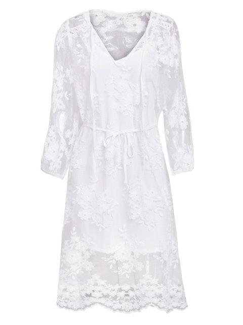 affordable Lace See-Through Long Sleeve Dress - WHITE S Mobile